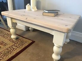 Rustic solid pine farmhouse scrub top coffee table