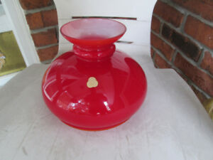 vintage Red cased glass shade for Student desk lamp