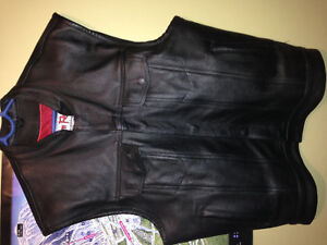 Leather vest and riding jacket