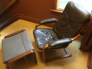 """Leather Chair and foot stool POÄNG Poang """"like"""""""