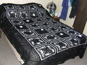 Beautiful Hand Crocheted Afghan - Black & White - $25.00