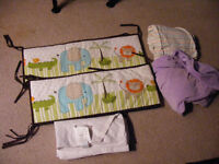 Crib bedding and bumper pads