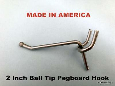 """(500 PACK) 2 Inch All Metal Peg Hooks. For 1/8"""" to 1/4"""" Pegboard or Slatwall"""