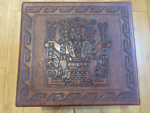 Leathered top Coffee table with Indian patterns.