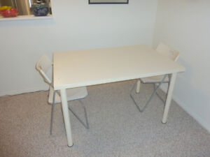 IKEA white table and 2 folding chairs