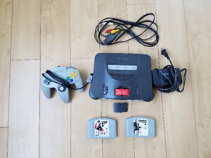 N64 console, with expansion pack, controller, 2 games, hookups