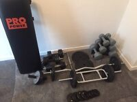 Free weights dumbbells bench York pro power tower weights bar bell z bar bell abs roller