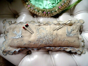 vintage HATPIN PIN CUSHION linen birds EMBROIDERY TEXTILE large