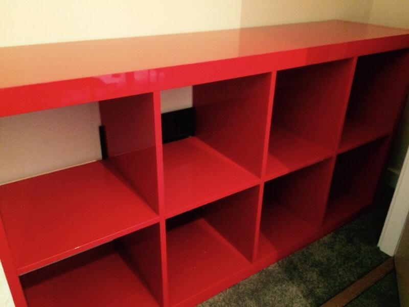 ikea kallax high gloss red unit in kirkcaldy fife gumtree. Black Bedroom Furniture Sets. Home Design Ideas
