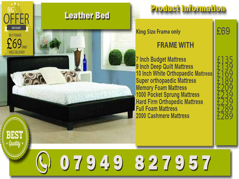 SINGLEKINGSIZESMALL DOUBLEDOUBLE LEATHER Bed WITH Matrsin South East London, LondonGumtree - Please see all images for prices and product details and feel free to call us
