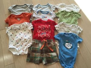 Lot of 13 onesies 3-6mths and 2 pairs of 0-3 mth pants