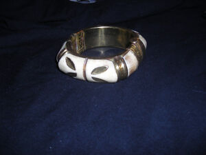 Vintage Bone and Brass Bracelet