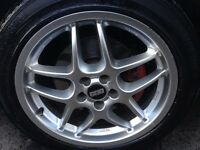 "Original BBS 17"" mags with tires 5 bolts"