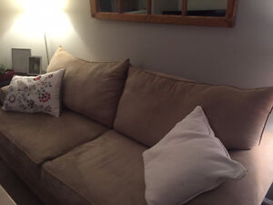 Amazing Taupe Microfiber Couch for sale!