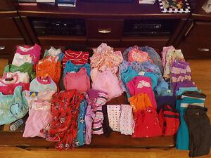 Girls size 4 assorted shirts pants pajamas tanks and shorts