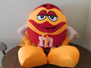 M&M Character Big Plush/Pillow, Orange/Red With Cape