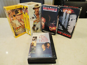 3 VHS Tape Boxed Set Indiana Jones & 2 Die Hard & Long Walk VHS