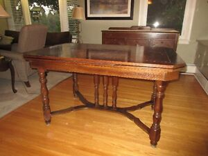 Antique table, 6 chairs and corner hutch