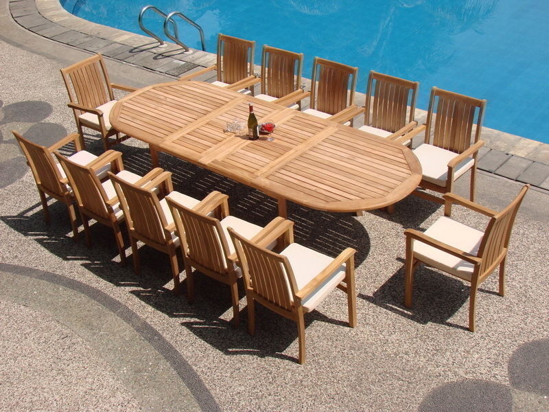 """Cahyo A-grade Teak 13pc Dining 117"""" Oval Table Stacking Arm Chair Set Outdoor Nw"""