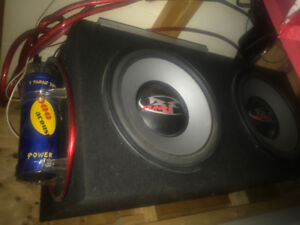 """Punch 12"""" Subs with Box, Eclipse Amp, and Power Bar"""
