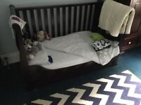 Silver cross sleigh style bed