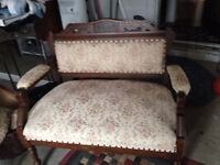 Antique loveseat with matching chair