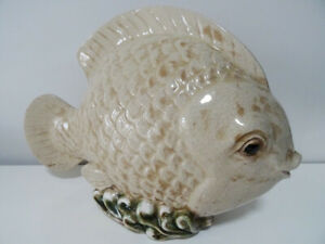 "vintage PUFFER kissing FISH 14"" beach GARDEN POND lake seaside"