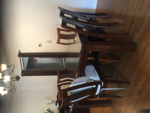 Dining table with 6 chairs and removable tempered glass top