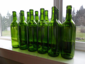 Used wine bottles for wine making.