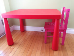 IKEA Mammut Children's table and wooden chair(great condition)