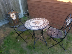 Outside metal tiled garden furniture