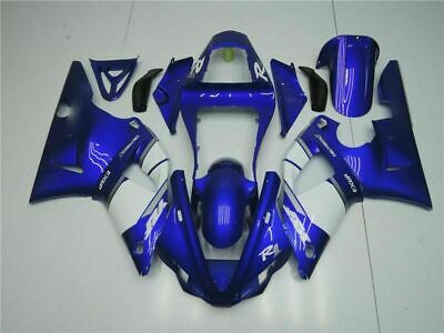 White Blue 14 New Body Kit For Yamaha R1 2000 2001 YZF 00-01 ABS Cowl