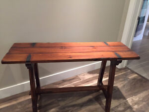 Solid Wood Farm Style Tobacco Stained Console Table From Pier 1