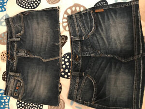 Ladies Silver Jean skirts