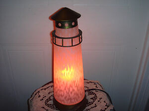 Stained Glass Lighthouse Lamp