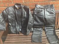 Ladies small leather jacket and trousers