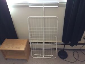 Clothes drying rack & tall lamp $5 each