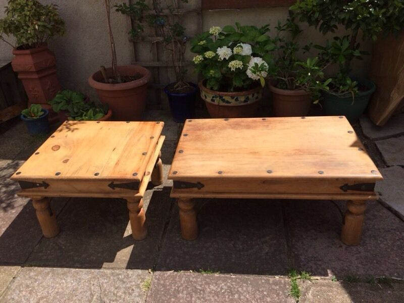 Set Of 2 Mexican Pine Coffee Tables With Wrought Iron Detailing