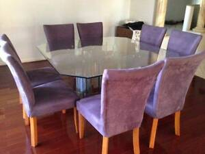 Dining Suite 8 Seater Glass Table & Padded High Back Chairs Parkinson Brisbane South West Preview