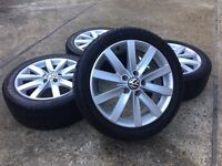 "GENUINE VW 17"" GOLF PORTO ALLOYS w/WINTER TYRES 225/45/17 - JETTA CADDY TOURAN PASSAT - SLOUGH"