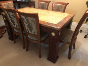sofa set with love seat .  dining table with six chairs