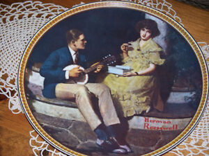 """NORMAN ROCKWELL"" Pondering on porch Collector Plate #2360T"