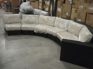 New Modern Rounded Rattan Patio Set