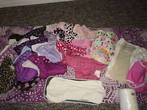 Lot of Over 20 Cloth Diapers- Girly colours