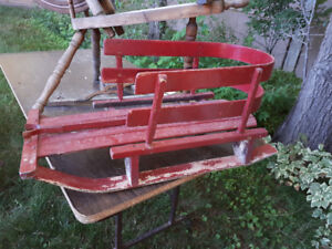 VINTAGE CHILDS DOLL RED SLEIGH SLED P