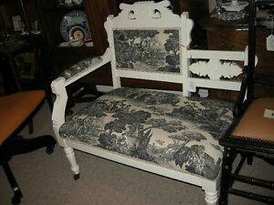 step back settee painted white, new Toile fabric