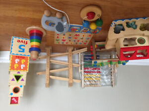 Wood toy lot: Hape, Melissa and Doug, stacker, puzzle,