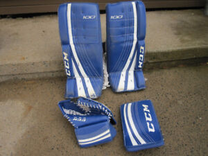 Youth Ice Hockey Goalie Pads, Left Hand Trapper and Right Hand B