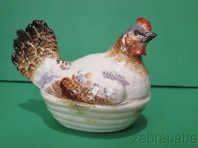 Antique 19th Century Meissen Chicken Tureen Hen on Nest