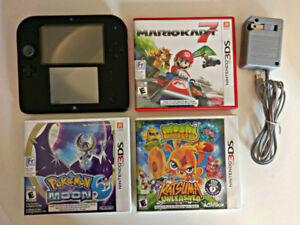 Nintendo 2DS (red) with 3 games